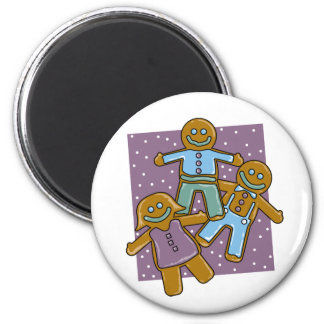 Gingerbread Men 2 Inch Round Magnet