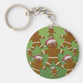 Gingerbread Men Basic Round Button Keychain
