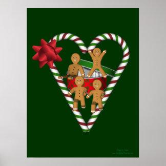 Gingerbread Men Candy Cane Heart Poster Print