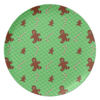 Gingerbread Men & Candy Canes Plate