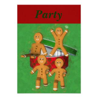Gingerbread Men Christmas Holiday Invitation