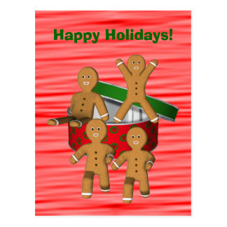 Gingerbread Men Christmas Holiday Postcard