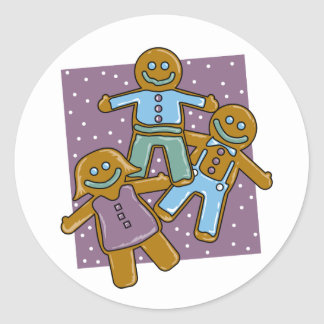 Gingerbread Men Classic Round Sticker