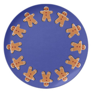 Gingerbread Men Cookies Blue Party Plates