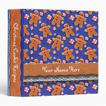 Gingerbread Men Cookies Candies Blue Binders