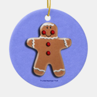 Gingerbread Men Cookies Candies Blue Christmas Tree Ornament