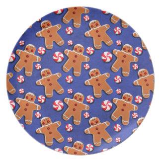 Gingerbread Men Cookies Candies Blue Dinner Plate