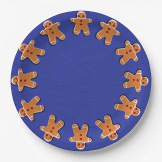 Gingerbread Men Cookies Candies Blue 9 Inch Paper Plate