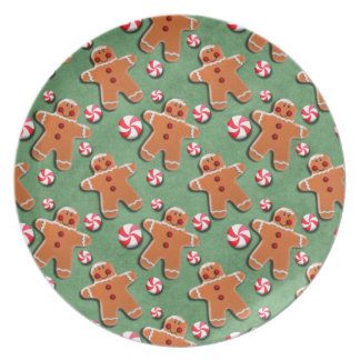 Gingerbread Men Cookies Candies Green Party Plate