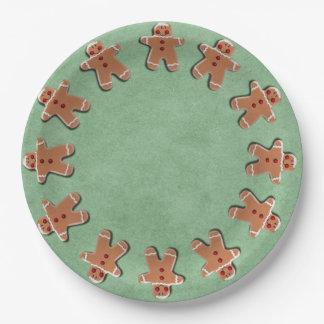 Gingerbread Men Cookies Candies Green 9 Inch Paper Plate