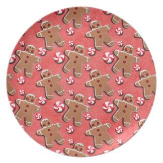 Gingerbread Men Cookies Candies Red Plate