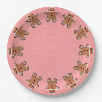 Gingerbread Men Cookies Candies Red 9 Inch Paper Plate