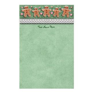 Gingerbread Men Cookies Candies Sprinkles Green Stationery