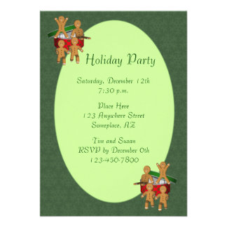 Gingerbread Men Cookies Christmas Holiday Personalized Invites