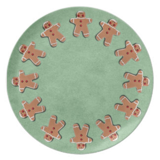Gingerbread Men Cookies Green Party Plates