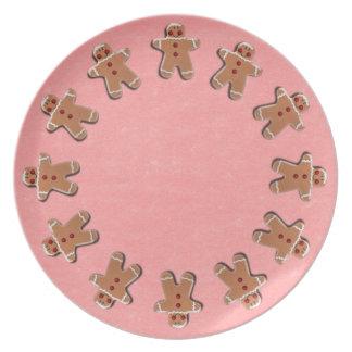 Gingerbread Men Cookies Red Dinner Plate