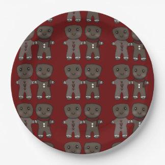 Gingerbread Men Friends 9 Inch Paper Plate