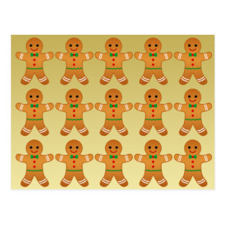 GINGERBREAD MEN - HAPPY HOLIDAYS postcard