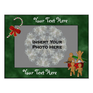 Gingerbread Men Holiday Frame Add Photo Poster