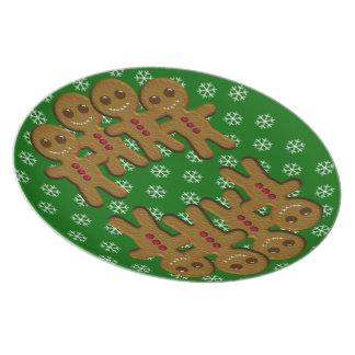 Gingerbread men Holiday Plates