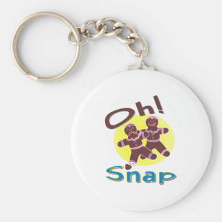 Gingerbread Men Oh Snap Basic Round Button Keychain