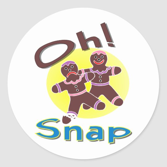 Gingerbread Men Oh Snap Classic Round Sticker