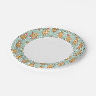 Gingerbread men pattern 7 inch paper plate