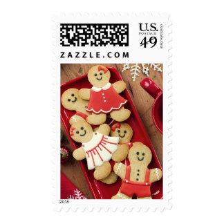 Gingerbread men postage stamps
