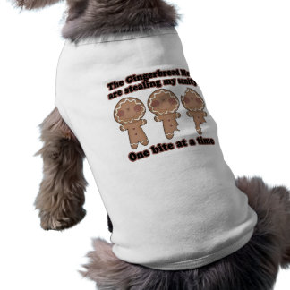 gingerbread men stealing insanity dog t-shirt