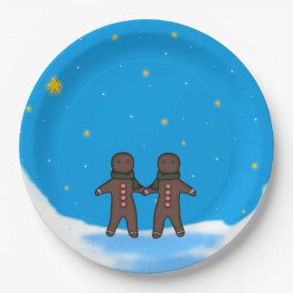 Gingerbread Men Winter Scene Paper Plate