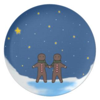 Gingerbread Men Winter Scene Dinner Plates