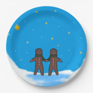 Gingerbread Men Winter Scene 9 Inch Paper Plate