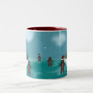 Gingerbread Men Winter Scene Two-Tone Coffee Mug