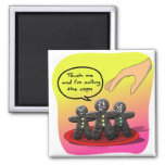 Gingerbread Men with Attitude Funny Cookies 2 Inch Square Magnet