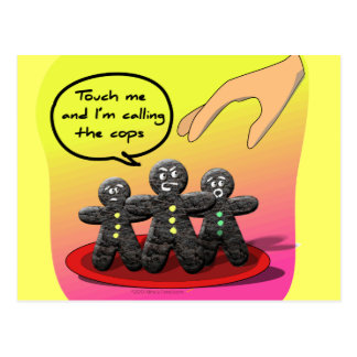 Gingerbread Men with Attitude Funny Cookies Postcard
