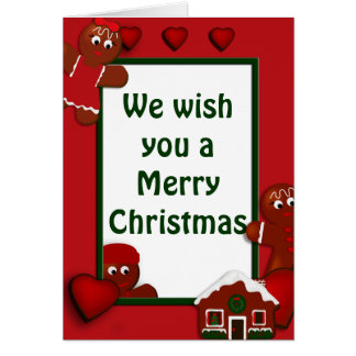 Gingerbread Merry Christmas Family of 3 Greeting Card