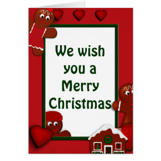 Gingerbread Merry Christmas Family of Two Card
