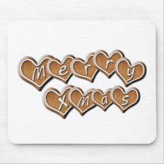 Gingerbread Merry Christmas Hearts Mouse Pad