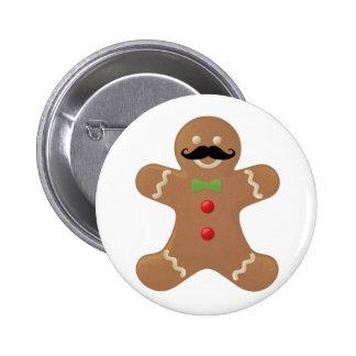 Gingerbread Mustache Man Button
