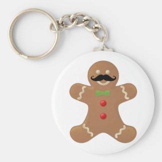Gingerbread Mustache Man Key Chain