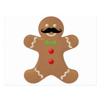 Gingerbread Mustache Man Postcard