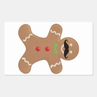 Gingerbread Mustache Man Rectangular Sticker