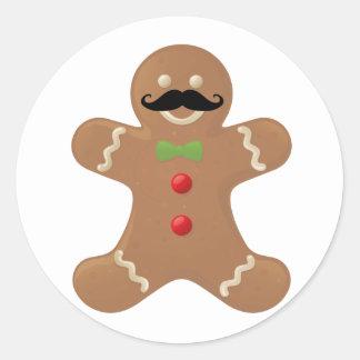 Gingerbread Mustache Man Round Stickers