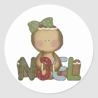 Gingerbread NOEL Classic Round Sticker