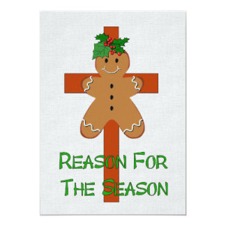 "Gingerbread On A Cross 5"" X 7"" Invitation Card"