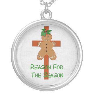 Gingerbread On A Cross Round Pendant Necklace