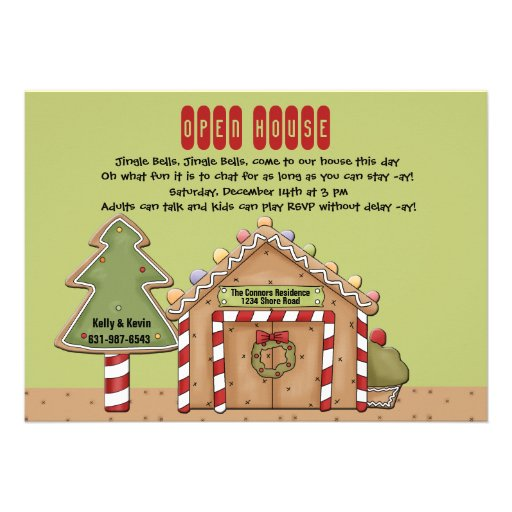 Gingerbread Open House Invitation