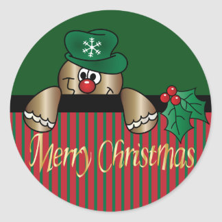 Gingerbread Peeker | Christmas Classic Round Sticker