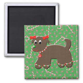 Gingerbread Puppy Dog Christmas Candy Canes Magnet