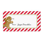 Gingerbread red stripes custom to from gift tag custom shipping labels